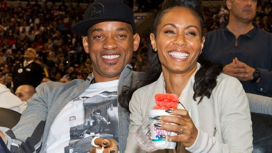 PHOTO: Will Smith and Jada Pinkett Smith attend the Miami Heat vs. the Philadelphia 76ers game, March 16, 2012 in Philadelphia, Pennsylvania.