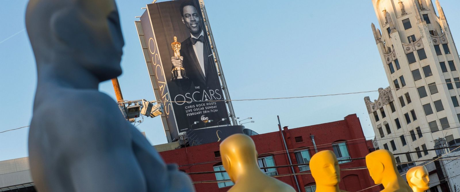 PHOTO: Oscar statuettes are seen as workers make preparations for the 88th Annual Academy Awards at Hollywood & Highland Center, Hollywood, California, on Feb. 24, 2016.