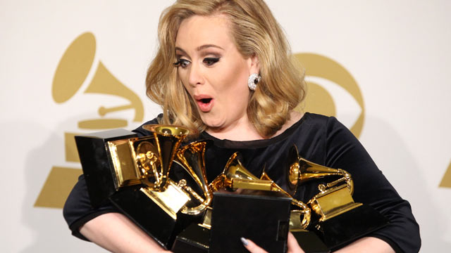 PHOTO: Adele holds her 6 GRAMMYS at the 54th Annual GRAMMY Awards - press room held at Staples Center February 12, 2012 in Los Angeles, Calif.