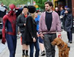 "PHOTO: Emma Stone, Andrew Garfield, Spencer Stone and Ren, Emma Stone and Andrew Garfields dog on the set of ""The Amazing Spider-Man 2"", May 18, 2013 in New York."