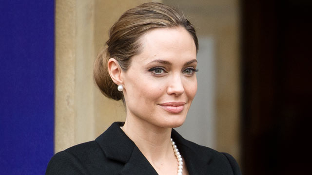 PHOTO: U.S. actress and humanitarian campaigner Angelina Jolie stands outside Lancaster House in central London on April 11, 2013, where she attended a discussion during the G8 Foreign Ministers meeting on the Preventing Sexual Violence Initiative.