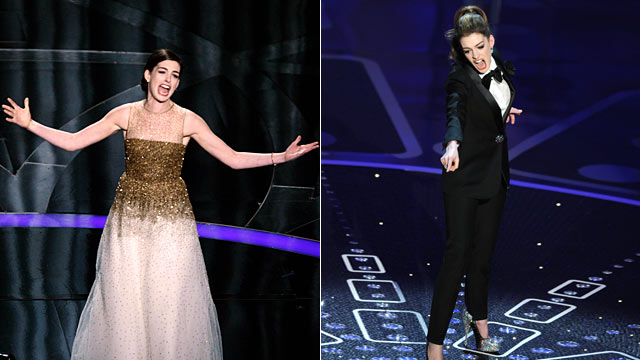 PHOTO: Anne Hathaway perform during the 81st Annual Academy Awards, Feb. 22, 2009, left, and Hathaway performing at the 83rd Annual Academy Awards, Feb. 27, 2011.