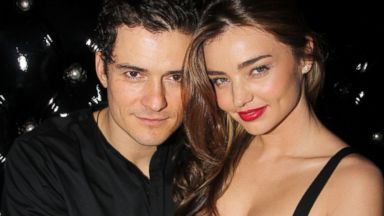 """PHOTO: Orlando Bloom and wife Miranda Kerr attend the after party for the Broadway opening night of """"Shakespeares Romeo And Juliet"""" at The Edison Ballroom, Sept. 19, 2013 in New York City."""