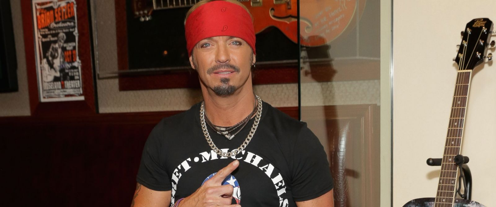 PHOTO: Singer/TV personality Bret Michaels attends the Bret Michaels guitar donation at Hard Rock Cafe New York, July 18, 2014 in New York City.