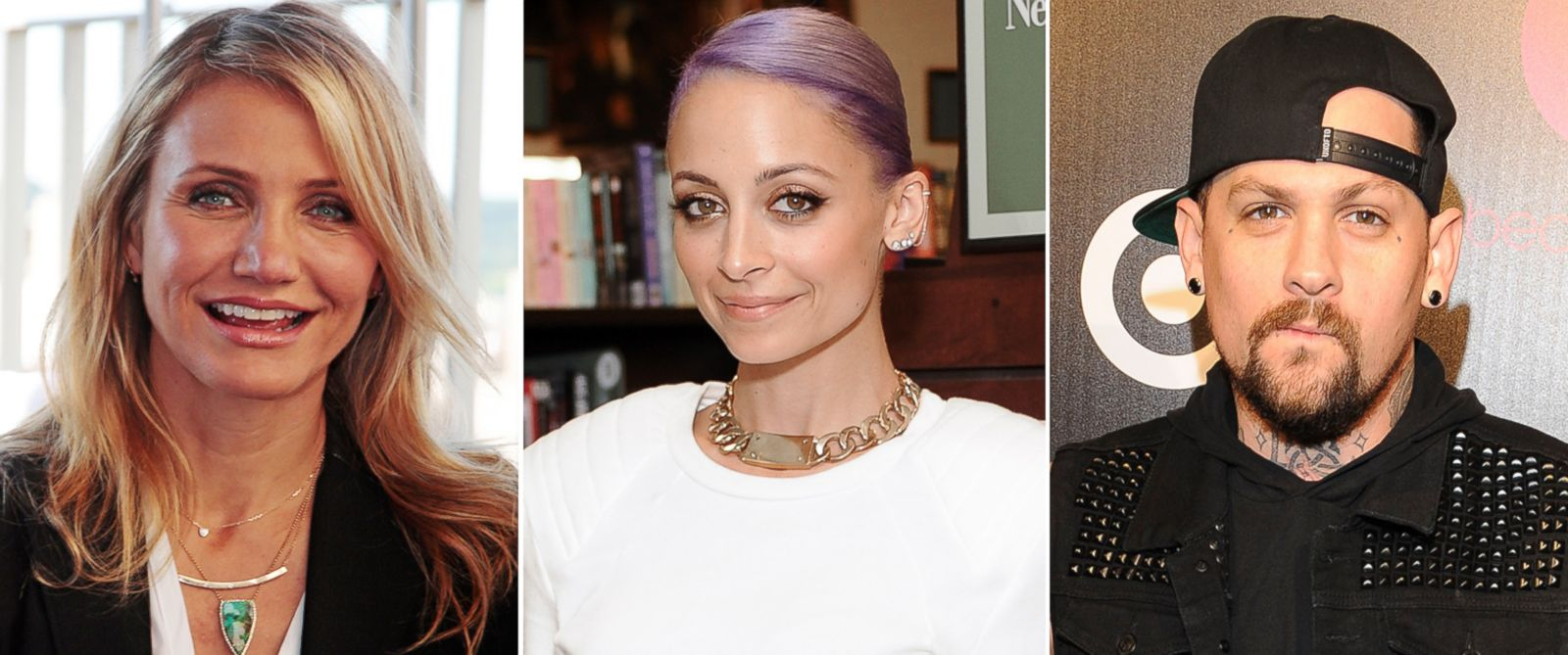 PHOTO: Cameron Diaz, seen left in this June 19, 2014 file photo, Nicole Richie, seen center in this May 12, 2014 file photo, and Benji Madden, seen right in this Jan. 24, 2014 file photo.