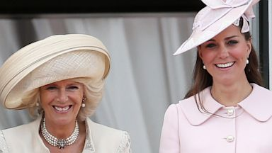 PHOTO: Camilla, Duchess of Cornwall and Catherine, Duchess of Cambridge laugh on the balcony of Buckingham Palace during the annual Trooping the Colour Ceremony on June 15, 2013 in London, England.