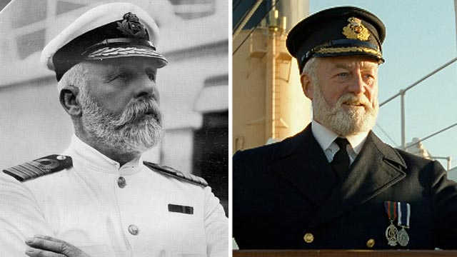 "PHOTO: Captain of White Star Liner, RMS Titanic, Commander Edward J Smith, left, is seen in this undated file photo. Bernard Hill is seen in a scene from the movie ""Titanic"" portraying Captain Edward Smith."