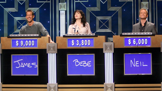 PHOTO: (L-R) Actors James Denton, Bebe Neuwirth and Neil Patrick Harris during a rehearsal for Celebrity Jeopardy at Radio City Music Hall on Oct. 08, 2006 in New York City.