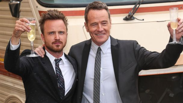 PHOTO: Actors Aaron Paul (L) and Bryan Cranston arrive as AMC Celebrates the final episodes of Breaking Bad at Sony Pictures Studios on July 24, 2013 in Culver City, California.