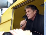 PHOTO: David Hasselhoff speaks to the crowd Save the Wall Protest at East Side Gallery, March 17, 2013, in Berlin.