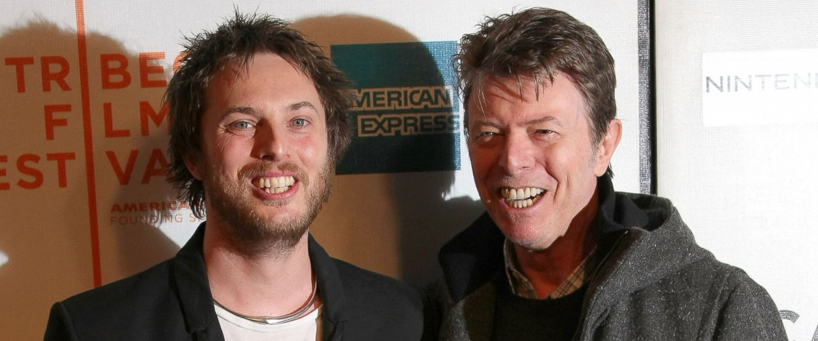 """PHOTO: Duncan Jones and his father David Bowie attend the premiere of """"Moon"""" during the 2009 Tribeca Film Festival, April 30, 2009 in New York City."""