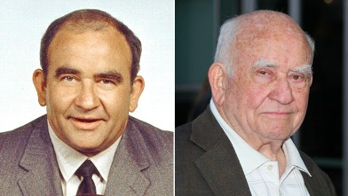 PHOTO: Ed Asner, as Lou Grant poses in a publicity portrait for the CBS situation comedy 'Mary Tyler Moore' show, California, 1971; Ed Asner arrives at ArcLight Hollywood, March 29, 2012, in Hollywood, Calif.