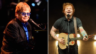 PHOTO: Sir Elton John celebrating Yamaha's 125th Anniversary Live Around the World Dealer Concert performs at the Hyperion Theater, Jan. 25, 2013 in Anaheim, Calif.; Ed Sheeran performs in concert at The Louisville Palace Theatre, Feb. 1, 2013, in Louisvi