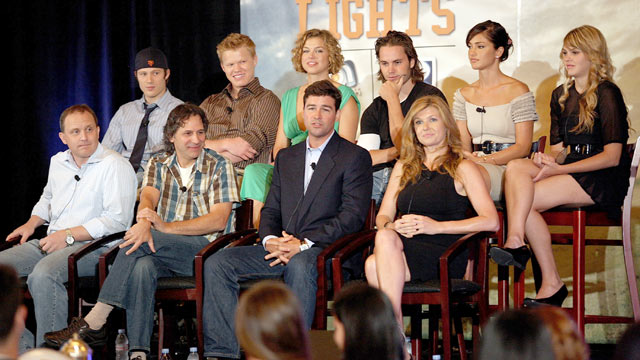 "PHOTO: The cast of ""Friday Night Lights"" speak during day 13 of the DirecTV portion of NBC Universal 2008 Summer Television Critics Association Press Tour held at the Beverly Hilton hotel on July 20, 2008 in Beverly Hills, Calif."
