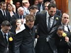 PHOTO: Boyfriend, Ryan Anderson, and the mother of former Bachelor contestant, Gia Allemand, attend the funeral for Gia Allemand at Trinity Grace Church on Aug. 22, 2013 in New York City.