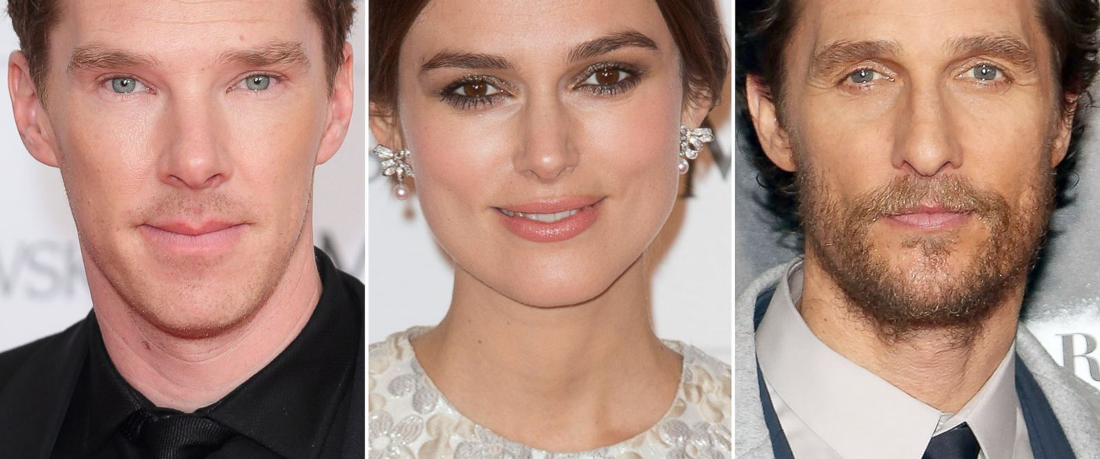 PHOTO: Benedict Cumberbatch and Keira Knightley attend an event in London, England on Dec. 7, 2014 and Matthew McConaughey is seen at a movie premiere on Nov. 3, 2014 in New York City.