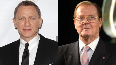 "PHOTO: Actor Daniel Craig, left, arrives at the ""Skyfall"" Australian premiere at the State Theatre on November 16, 2012 in Sydney, Australia while Sir Roger Moore signs copies of his book ""Bond on Bond"" at HMV, Oxford Street on October 22, 2012 in London,"