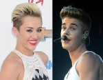 PHOTO: Singer Miley Cyrus, left, arrives at the 2013 Billboard Music Awards at the MGM Grand Garden Arena on May 19, 2013 in Las Vegas, Nevada and right, Justin Bieber performs at Unipol Arena on March 23, 2013 in Bologna, Italy.
