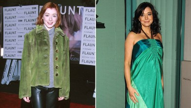 """PHOTO: Alyson Hannigan, left, during Flaunt's Magazine One Year Anniversary Party at The Sunset Room in Hollywood, Calif. in 1999, and right, at the """"How I Met Your Mother"""" panel held at the Leonard H. Goldenson Theatre on January 27th, 2009 in North Holl"""