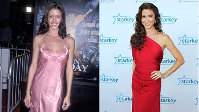 """PHOTO: Actress Shannon Elizabeth attends the """"Any Given Sunday"""" Westwood Premiere on December 16, 1999 at the Mann Village Theatre in Westwood, Calif. and right, on the red carpet before the 2012 Starkey Hearing Foundation's """"So the World May Hear Awards"""