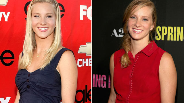 "PHOTO: Heather Morris, left, at the premiere of Fox's ""Glee"" on Sept. 8, 2009 in Culver City, Calif., and, right, at the ""Spring Breakers"" premiere on March 14, 2013 in Hollywood, Calif."