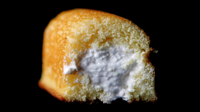 PHOTO: Part of a Hostess Twinkie golden sponge cake with its creamy filling exposed in Des Plaines, Illinois, a suburb northwest of Chicago.