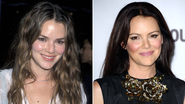 PHOTO:Jacinda Barrett is shown in this 2000, left, and again in 2011.