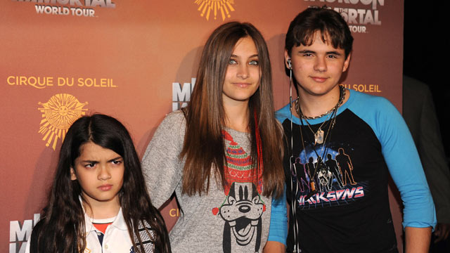 "PHOTO: Blanket Jackson, Paris Jackson and Prince Jackson attend Cirque Du Soleils Michael Jackson ""The Immortal"" World Tour Opening Night at Staples Center on January 27, 2012 in Los Angeles, California."