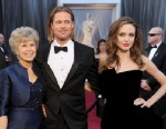PHOTO: Jane Pitt, left, Brad Pitt and Angelina Jolie arrive at the 84th Annual Academy Awards at Hollywood & Highland Center, Feb. 26, 2012 in Hollywood, Calif.