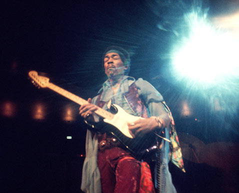 Jimi Hendrix Playing Guitar On Fire
