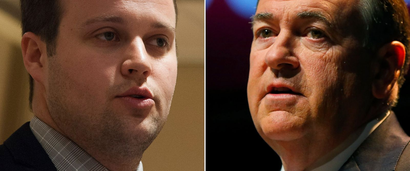 PHOTO: Josh Duggar, seen left in this Feb. 28, 2015 file photo, and Republican presidential hopeful Mike Huckabee, seen right in this May 5, 2015 file photo.