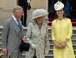 PHOTO: Prince Charles, left, Camilla, the Duchess of Cornwall and Catherine, the Duchess of Cambridge attend a Garden Party on the grounds of Buckingham Palace in London, May 22, 2013.