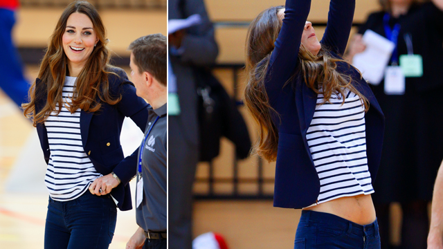 PHOTO: Catherine, Duchess of Cambridge plays volleyball as she attends a SportsAid Athlete Workshop on Oct. 18, 2013 in London.