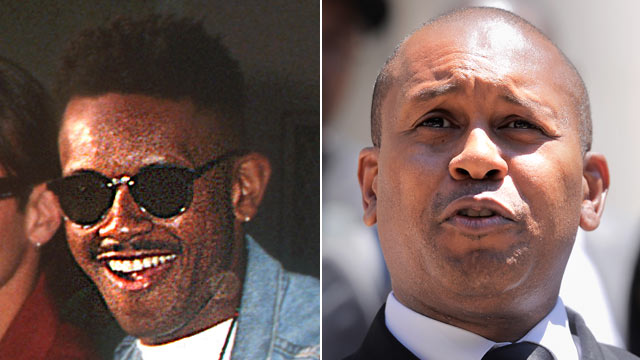 """PHOTO:Kevin Powell is shown with the """"Real World"""" ast in 1992, left, and on July 5, 2011 in New York City."""