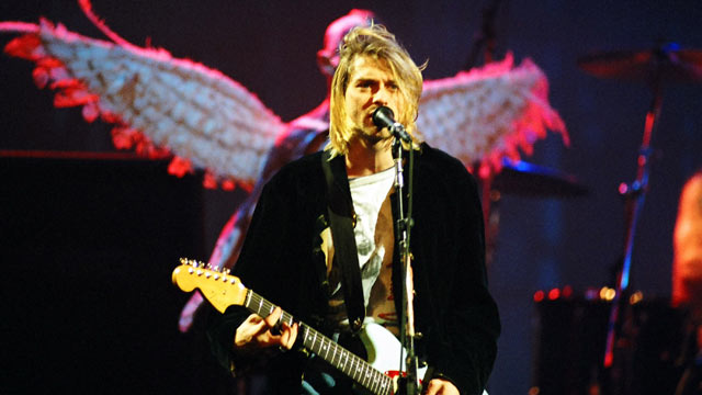 PHOTO: Kurt Cobain of Nirvana during MTV Live and Loud: Nirvana Performs Live - December 1993 at Pier 28 in Seattle, Washington.