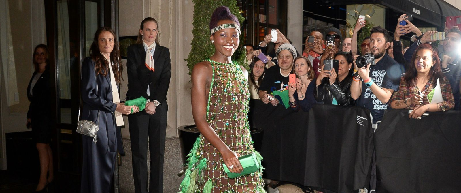 "PHOTO: Actress Lupita Nyongo is seen outside the ""Mark Hotel""before attending the Met Gala on May 5, 2014 in New York City."