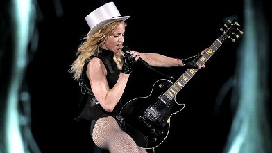 "PHOTO: Madonna performs during her ""Sticky & Sweet Tour"" concert, July 21, 2009 at Olympic Stadium."