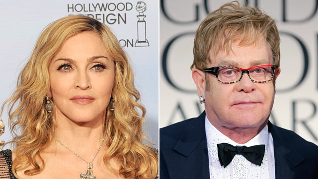 PHOTO: Singer Madonna poses in the press room, left, Elton John arrives at the 69th Annual Golden Globe Awards.