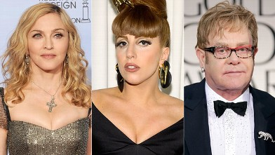 PHOTO: Singer Madonna, Lady Gaga and Elton John