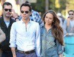 PHOTO: Marc Anthony with his twins Max and Emme (not pictured) and Marks new girlfriend Chloe Green visit Disneyland, Feb 26, 2013 in Anaheim, Calif.
