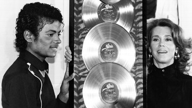 "PHOTO: Michael Jackson receives the first Triple Platimum awards for the multi-platinum 'Thriller,"" from Jane Fonda."