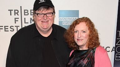 "PHOTO: Michael Moore and Kathleen Glynn attend the premiere of ""Zen of Bennett"" during the 2012 Tribeca Film Festival at BMCC Tribeca PAC on April 23, 2012 in New York City."