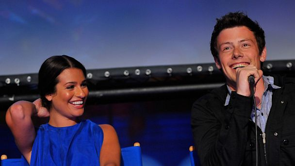 PHOTO: Lea Michele and Cory Monteith speak at a Q&A session at the GLEE premiere event screening at Santa Monica High School on May 11, 2009 in Santa Monica, Calif.
