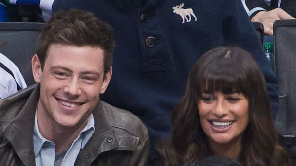 PHOTO: Cory Monteith and Lea Michele attend a hockey game between the Vancouver Canucks and the Los Angeles Kings at Staples Center on March 23, 2013 in Los Angeles.