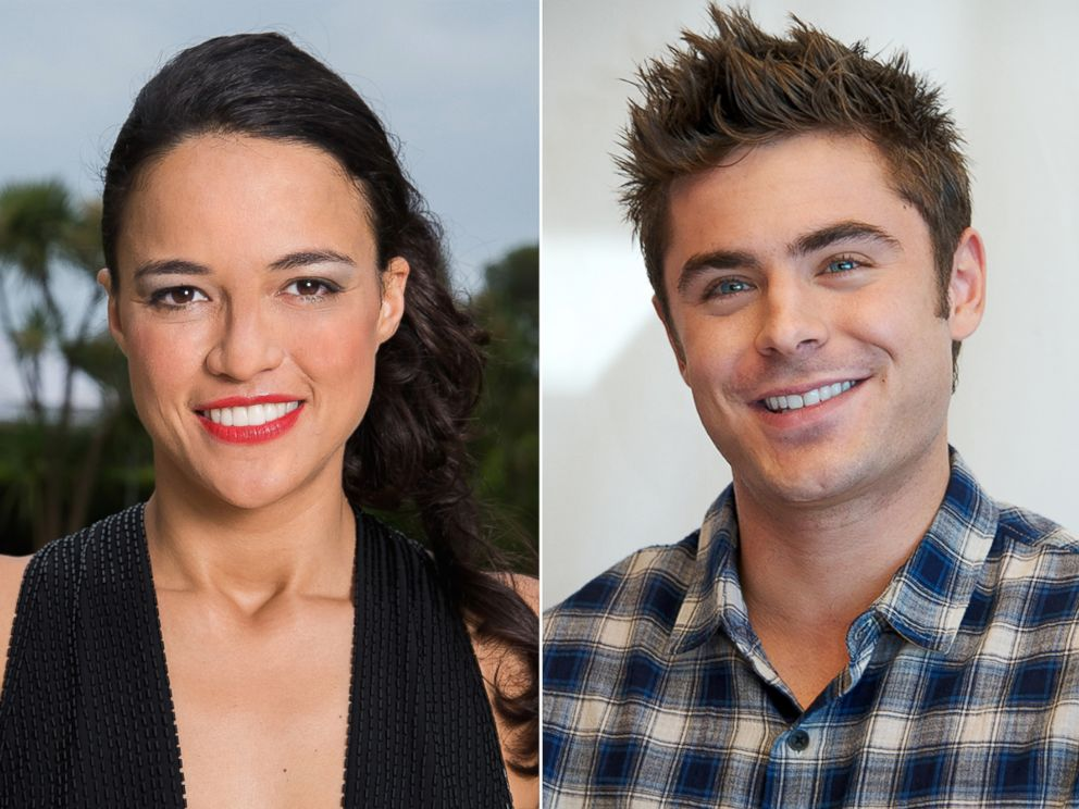 PHOTO: Michelle Rodriguez poses for a portrait on May 22, 2014 in Cap dAntibes, France and Zac Efron speaks at a press conference on May 3, 2014 in New York City.
