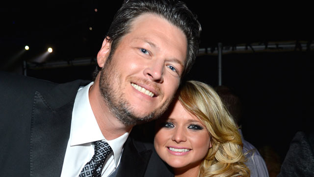 PHOTO: Musicians Blake Shelton, left, and Miranda Lambert attend the 48th Annual Academy of Country Music Awards at the MGM Grand Garden Arena, April 7, 2013, in Las Vegas.