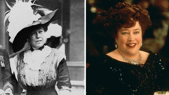 "PHOTO: Mrs. J.J. ""Molly"" Brown, left, is seen in this May 29, 1912 file photo. Kathy Bates is seen in scene from the movie ""Titanic"" portraying Molly Brown."