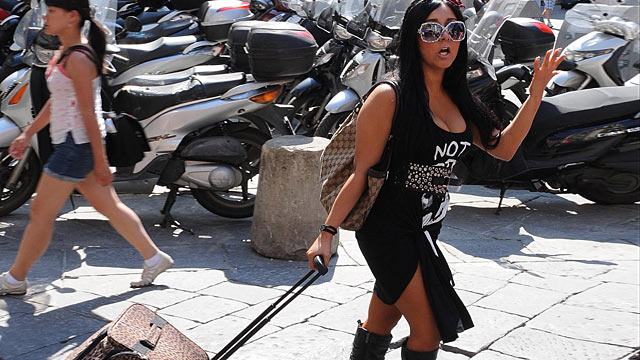"PHOTO: Nicole Polizzi of the reality TV show ""Jersey Shore"" is seen shopping, May 25, 2011 in Florence, Italy."