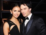 PHOTO: Actors Nina Dobrev (L) and Ian Somerhalder attend the 20th Annual Elton John AIDS Foundation Academy Awards Viewing Party at The City of West Hollywood Park on February 26, 2012 in Beverly Hills, Calif.