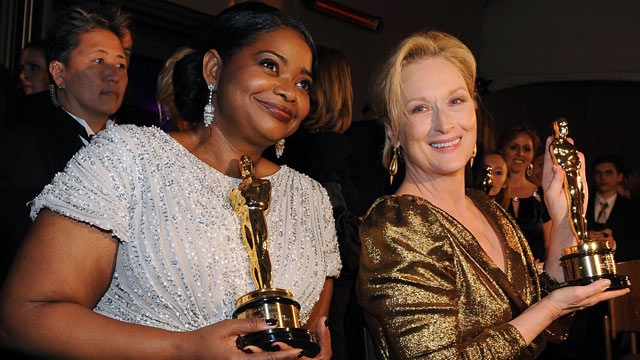 """PHOTO: Octavia Spencer left, winner for Best Actress in a Supporting Role for """"The Help,"""" and Meryl Streep, winner of Best Performance by an Actress in a Leading Role for """"The Iron Lady""""."""
